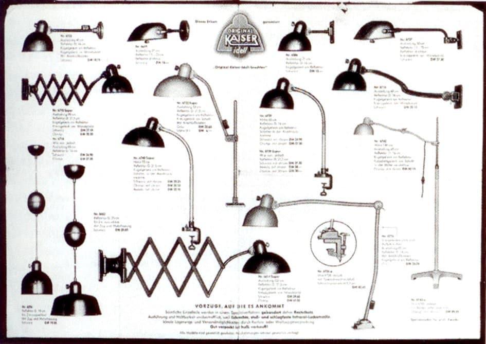 Catálago de 1935 com as lâmpadas KAISER Idell. Entre elas, a Idell Scissor Lamp